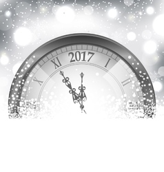 2017 new year midnight snowing background vector
