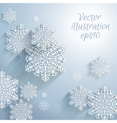 3D Abstract Snowflakes Christmas background vector image