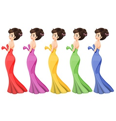 A lady in different gowns vector image