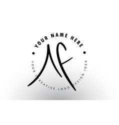 Af handwritten letters logo design with circular vector
