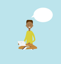african man using laptop sitting chat bubble vector image