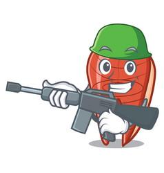 army fish slice character cartoon vector image