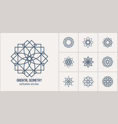 asian linear geometric symbols vector image