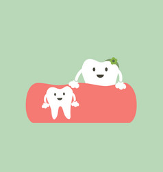 baby tooth and mom - first teeth concept vector image