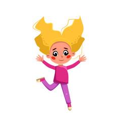 Beautiful blonde gir happily jumping cute vector