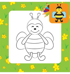 Bee coloring page vector