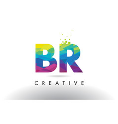 Br b r colorful letter origami triangles design vector