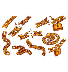 Broken chain and locks cracked chain links sketch vector