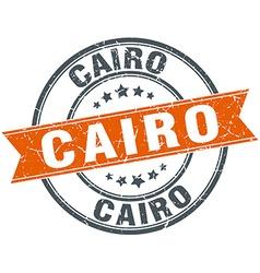 Cairo red round grunge vintage ribbon stamp vector
