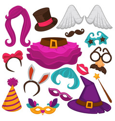 carnival masks and costume accessory flat vector image