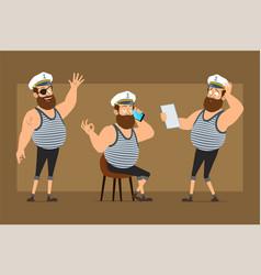 cartoon flat fat sailor man character set vector image