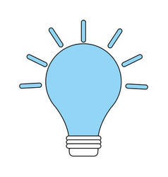 color silhouette image light bulb on with shiny vector image