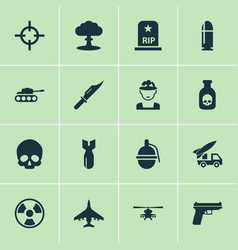 Combat icons set collection of rocket aircraft vector