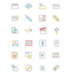 Communication Colored Outline Icons 6 vector