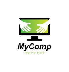 Computer logo design templatehand with computer s vector