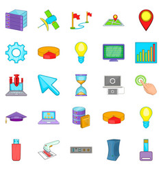 Computer peripherals icons set cartoon style vector