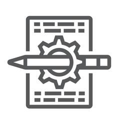 Content management line icon development vector