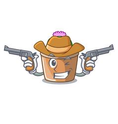 Cowboy character cartoon flower of star cactus vector