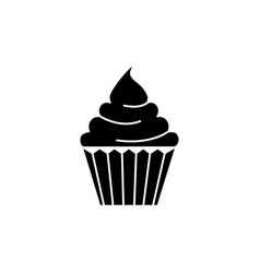 cream cupcake icon black vector image