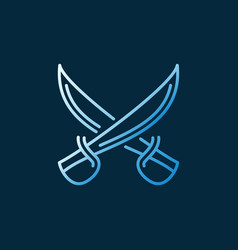 Crossed sabres concept linear colored icon vector