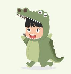 Cute kid crocodile costume cartoon vector