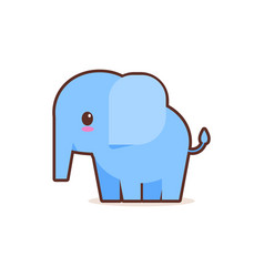 cute little blue elephant cartoon comic character vector image