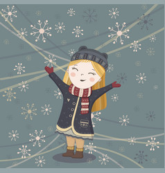 cute winter girl card vector image