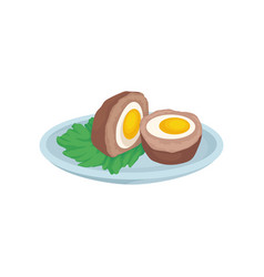 Cutlet with egg inside fresh nutritious breakfast vector