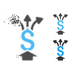 Disappearing pixelated halftone share money icon vector