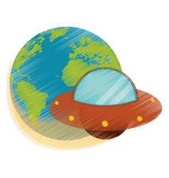 Drawing earth world ufo image vector