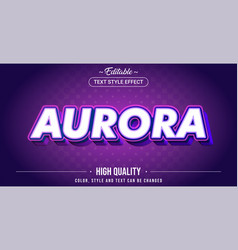 Editable text style effect - aurora theme style vector