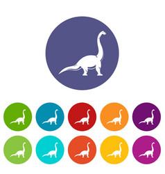 Elasmosaurine dinosaur icons set flat vector