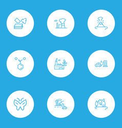 Environment icons line style set with atomic vector