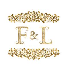 F and l vintage initials logo symbol vector