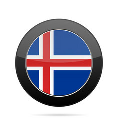 Flag of iceland shiny black round button vector