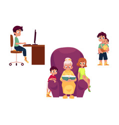 flat grandparents and children set vector image