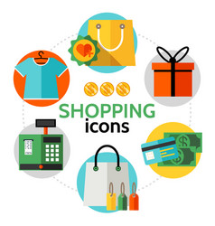 Flat shopping icons round concept vector