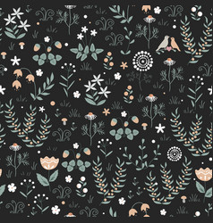 floral seamless pattern with meadow plants vector image