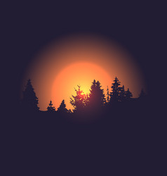 forest silhouette against sun background vector image