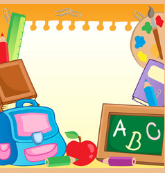 Frame with school supplies 2 vector