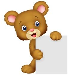 Funny bear holding blank sign vector