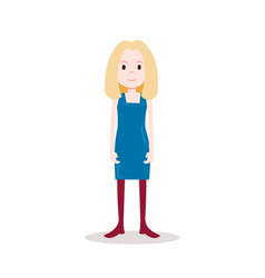 girl blonde character serious female blue dress vector image