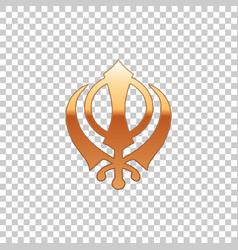 Golden sikhism religion khanda symbol isolated vector