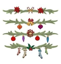 Hand Drawn Vintage Christmas Border set vector image