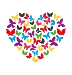 Heart of butterflies love vector