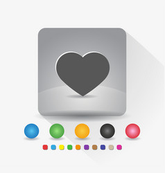 heart shape icon sign symbol app in gray square vector image