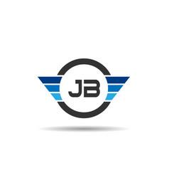 initial letter jb logo template design vector image