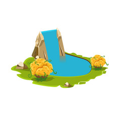 island with a lake and waterfall vector image