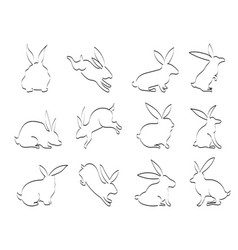 isolated doodle black rabbit outline icons on vector image