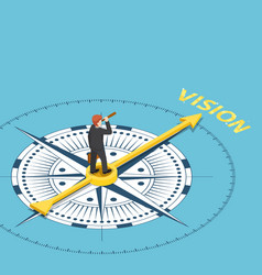 isometric businessman with spyglass telescope on vector image